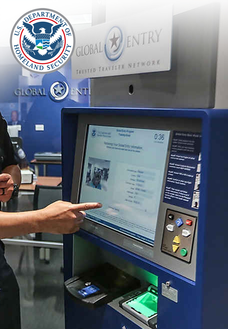 Department of Homeland Security passport control kiosk with EZ Access technologies.